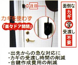 カギを使わずラクラクドア開閉 鍵の受け渡し時間の削減
